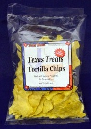 Texas shaped tortilla chips
