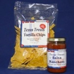 Texas shaped chips and salsa