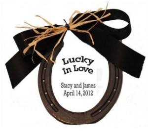 Personalize this Lucky in Love Nordic Horseshoe with the Couple's Name and Wedding Date
